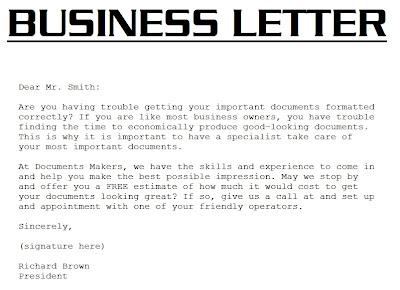 Business Letter Example 3000 December 2012