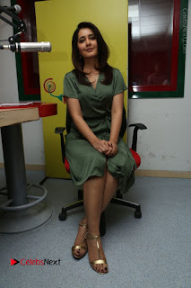 Actress Raashi Khanna Stills in Green Short Dress at Mirchi 95 Suno Aur Mercedes Jeeto Contest  0135.JPG