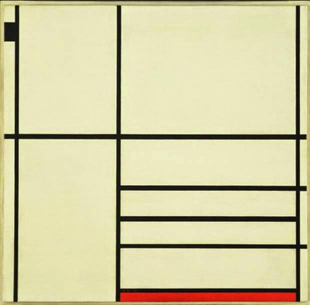 Composição em Branco, Preto e Vermelho - Piet Mondrian e Suas Pinturas | Criador do Neoplasticismo