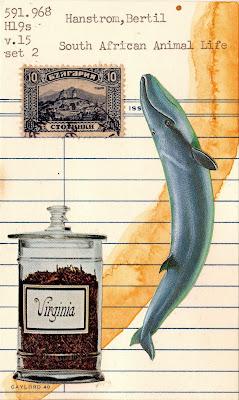 Robert Herrick library due date card virginia tobacco Bulgaria postage stamp Sophia blue whale Dada Fluxus mail art collage
