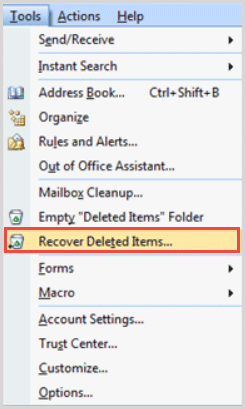 Recover Deleted Items Outlook 2007