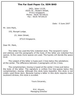 Contoh Surat Block Style Bahasa Inggris Suratsuratxyz