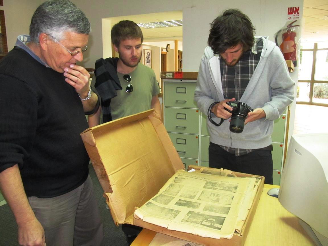 ... the Yad Yaari Research and Documentation Center showing Barcelona  journalist Ofer Laszewicki and photojournalist colleague Oliver de Ros  newspapers from ... ee621a14c5a
