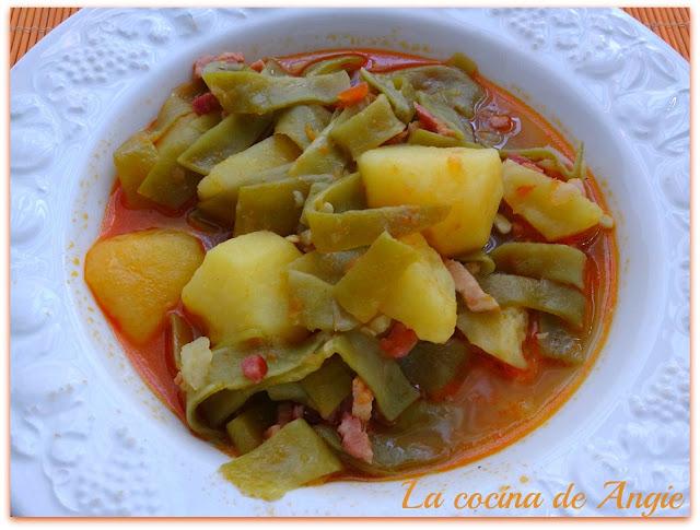 La cocina de angie jud as verdes guisadas con beicon - Judias verdes en olla express ...