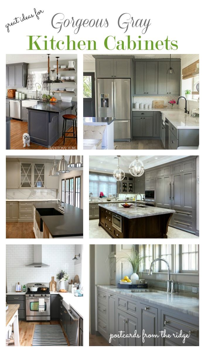 Lots of great ideas for gray painted cabinets. These are all so gorgeous! Postcards from the Ridge.