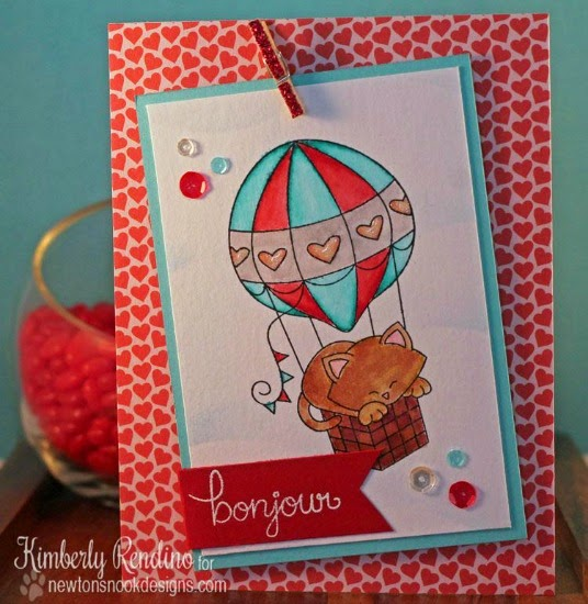 French Kitty with Hot Air Balloon   Card by Kimberly Rendino   Newton's Nook Designs   Newton Dreams of Paris Stamp Set