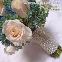 comprar Ramo de novia celeste azul en hortensias y rosas con tallos en perlas blancas ciudad de guatemala