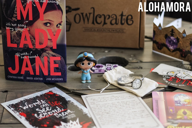 Owlcrate YA/Teen Young Adult Subscription Box review of the June 2016 Royalty themed box with PopFunko Disney figurine, craftedvan magnetic bookmarks, Rich Love Shoppe Cinder bracelet, author letters and Book My Lady Jane by Cynthia Hand. fantasy, alternative history, adventure, funny, fandom, booknerd, high school, humor. Alohamora Open a Book http://alohamoraopenabook.blogspot.com/
