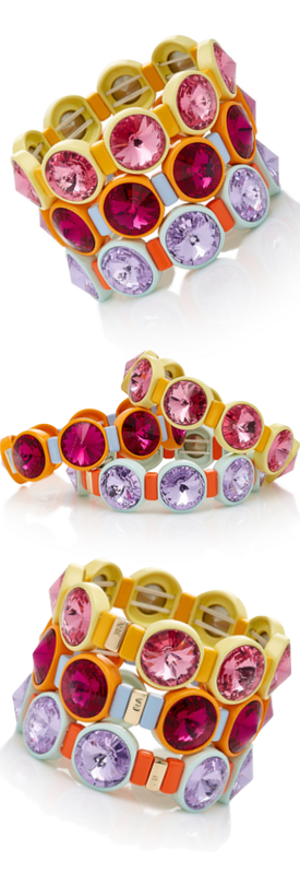 Roxanne Assoulin Set Of Three Technicolor Crystal Bracelets