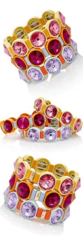 Roxanne Assoulin Set Of Three Technicolor Crystal Bracelets