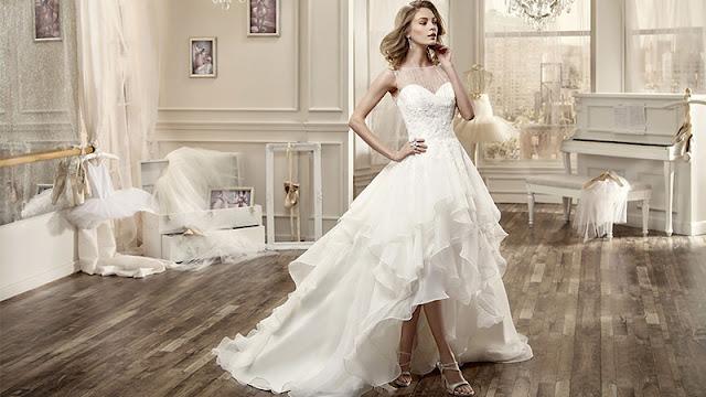 robe de mariée ligne A courte devant longue derrière