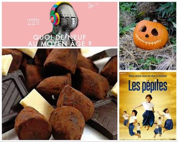 Quoi de Neuf au Moyen Age-salon du chocolat- film les Pepites- citrouille Halloween