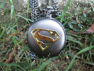 Jam Saku Antik Superman P961 Stainless Steel with Necklace Chain