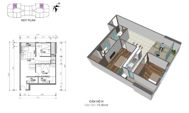 Căn hộ H có diện tích 74m2 với thiết kế 02 phòng ngủ
