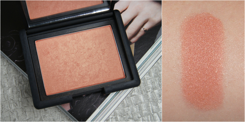 nars luster powder blush review swatch golden peach bronze shimmer gorgeous glow