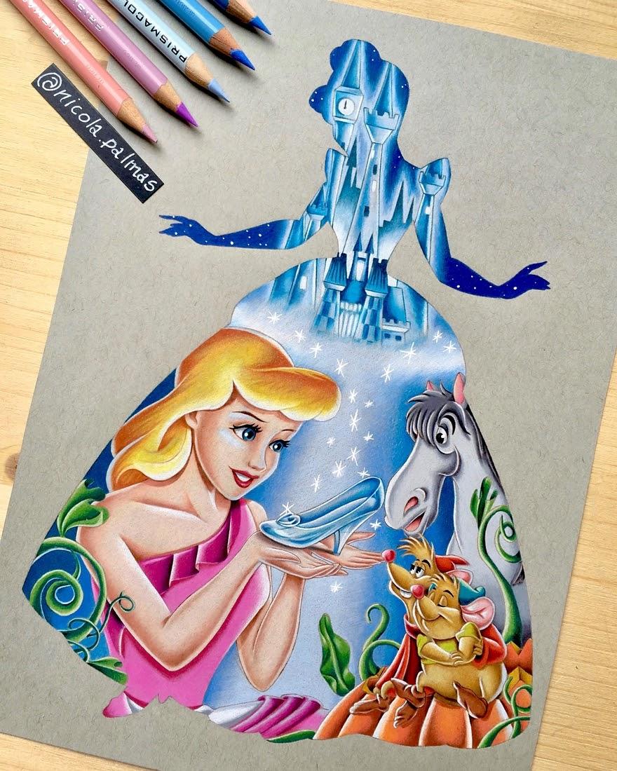 01-Princess-Silhouette-Series-Cinderella-Nicola-Palmas-Walt-Disney-Characters-Art-Illustrations-www-designstack-co