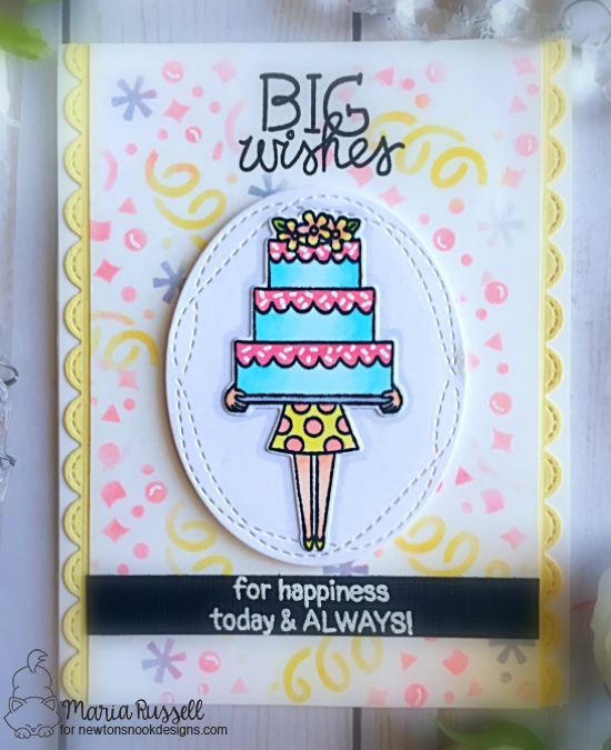 Big Wishes Cake Card by Maria Russell | Holding Happiness Stamp Set and Confetti Stencil by Newton's Nook Designs #newtonsnook #handmade