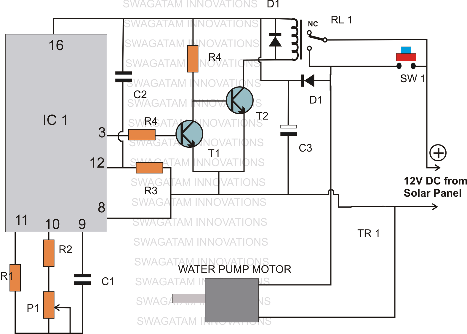 Semi Automatic Water Level Controller  Timer Circuit