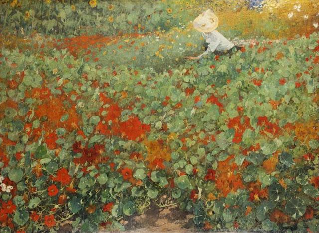 Obra de arte siglo XIX, pintor Jacobus van Looy. Paisaje del campo de flores.