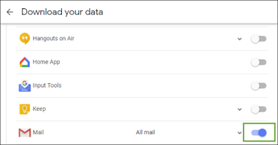 select the data to export