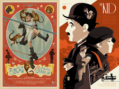 Charlie Chaplin Screen Print Series by Nautilus Art Prints - The Circus by Jonathan Burton & The Kid by Tom Whalen