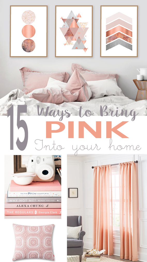 pink curtains, pillows, wall art, books to decorate the home