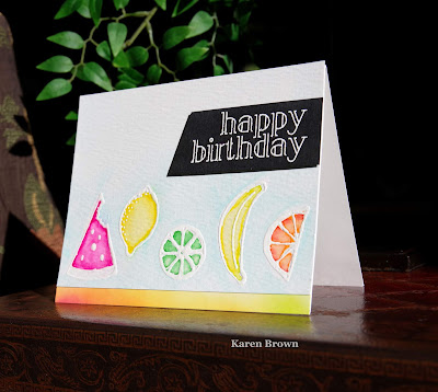Handmade card using Create a Smile Fruit Salad.  Lemon, lime, orange, banana watermelon.