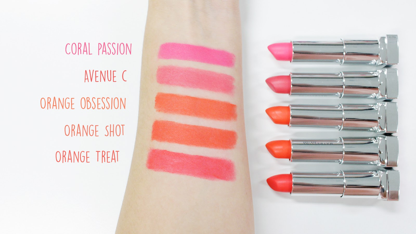 Maybelline The Powder Mattes Orange Shades Swatches | www.bigdreamerblog.com