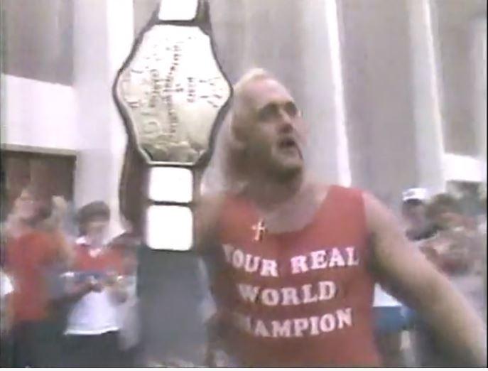 'Your Real World Champion' T-shirt worn by  World Champion Hulk Hogan in 1984.