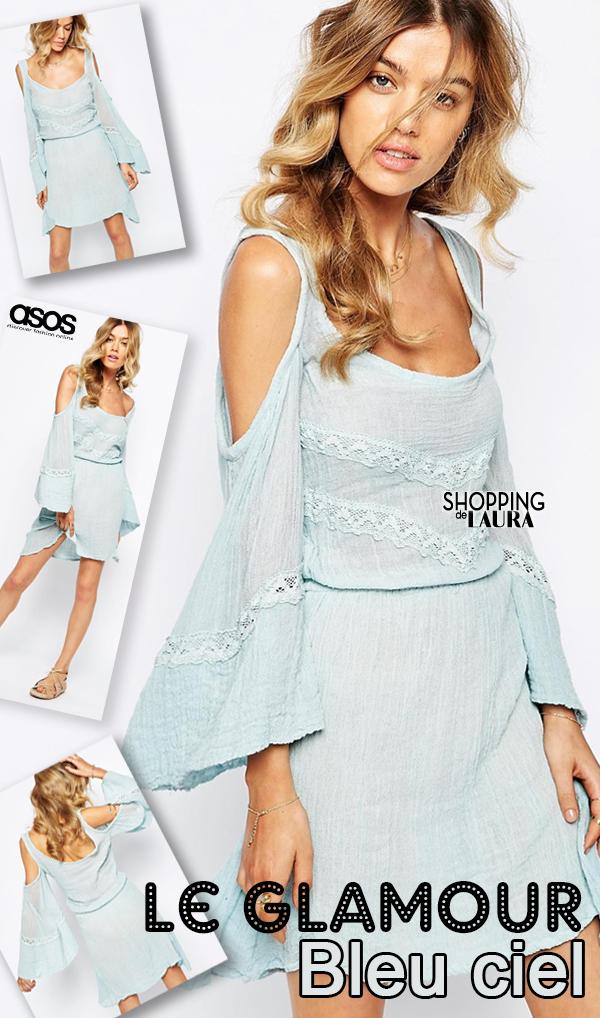 Robe bleu ciel en coton et dentelle JEN'S PIRATE BOOTY