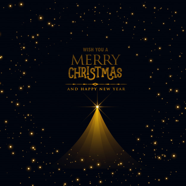 Black christmas poster design with glowing xmas tree Free Vector