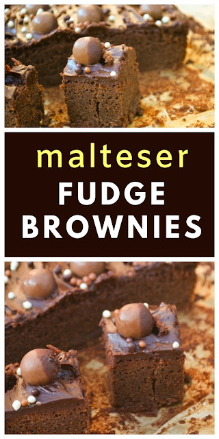 Quick chocolate brownies that turn gloriously fudgey when left in the fridge overnight. For extra indulgence they are topped with chocolate buttercream, Maltesers and sprinkles #brownies #maltesers #malteserbrownies #maltbrownies #fudgebrownies #chocolatebrownies #easybrownies