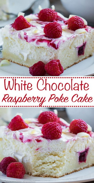 White Chocolate Raspberry Poke Cake Recipe