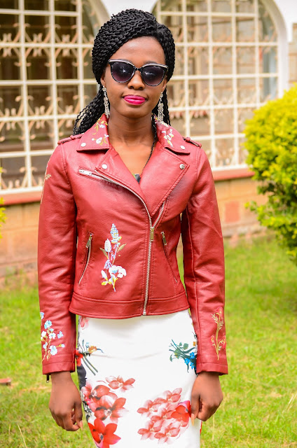 Wearing A Brown Embroidered Leather Jacket With A Floral Dress