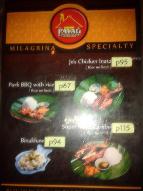 Payag Restaurant Bohol Menu