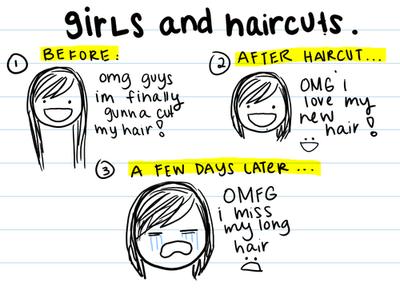 dziewczyny po ścięciu włosów, mem