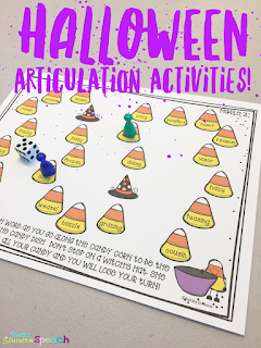 Halloween articulation activities for speech therapy!