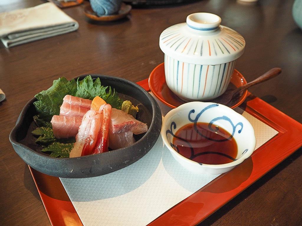 Sashimi course of yorokobi kaiseki menu at Tsuru