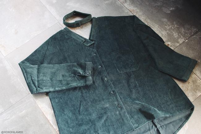 日本人ファッションブロガー,MizuhoK,3月に買ったもの,Re:EDIT ダークグリーン コーデュロイ スキッパー シャツ