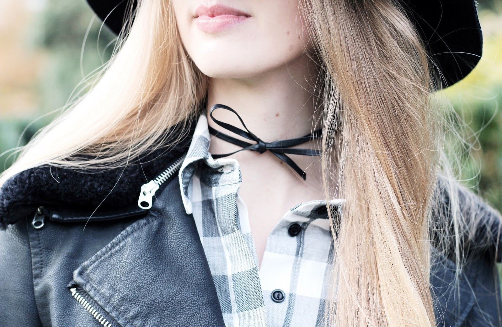 Black leather bow choker by Dauphines of NY