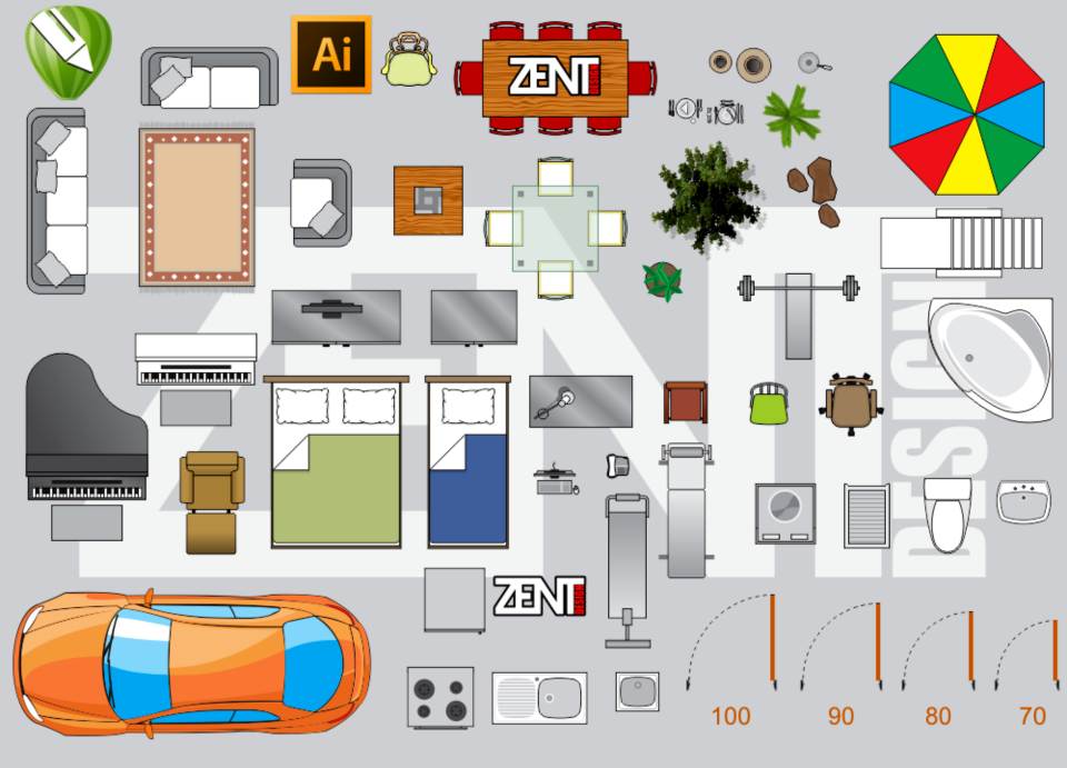 Furniture Floor Plan - VECTOR PREMIUM ~ ZENT DESIGN 2D
