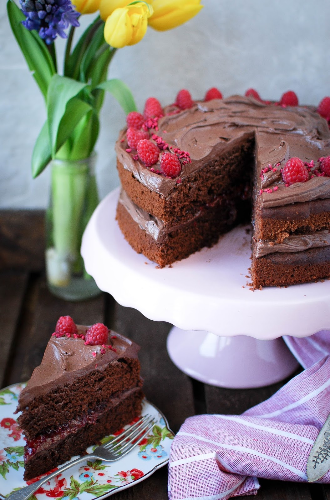 Vegan Chocolate Raspberry Cake Recipe Katiecakes
