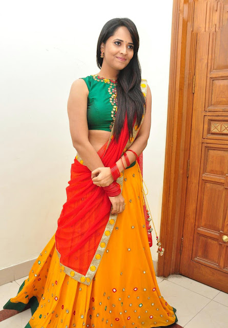 Anasuya in Mirror Work Embroidery Half Saree at Soggade Chinni Nayana Audio Launch