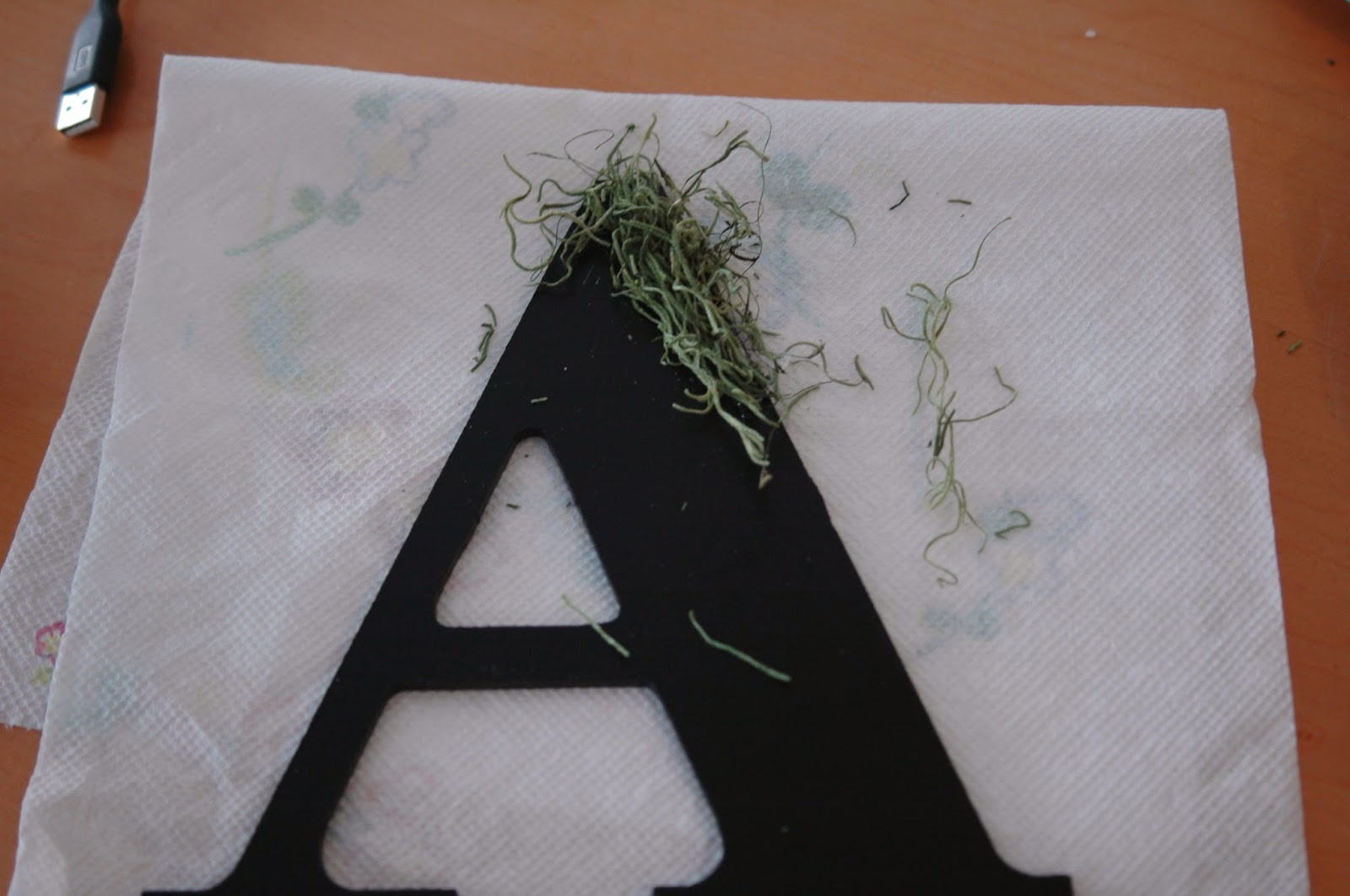 Apply hot glue to wood letter then cover with moss