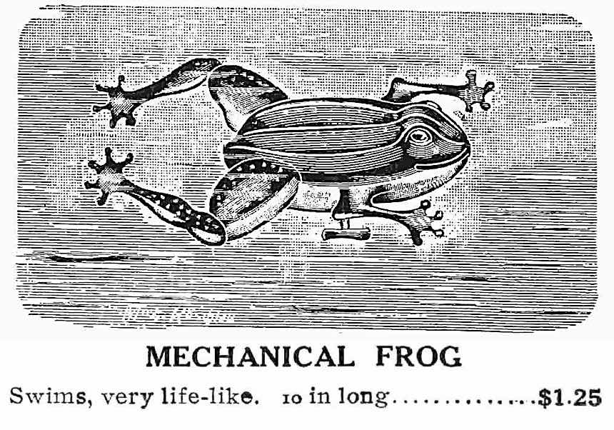 mechanical toy frog 1911, illustrated advertisement