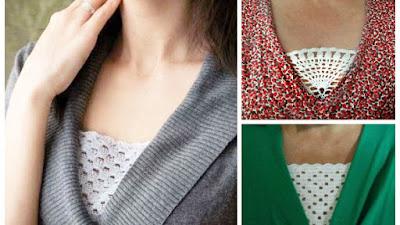 Pieza triangular a crochet para tapar el canalillo del escote