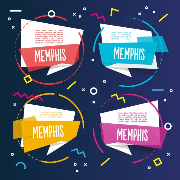 Four colorful memphis templates Free Vector