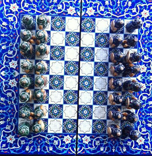uzbek wooden chess set hand painted samarkand