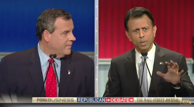 Fox Business Republican Debate Bobby Jindal versus Chris Christie split screen