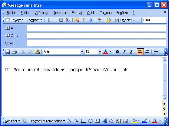 Outlook ne fait plus de lien hypertexte